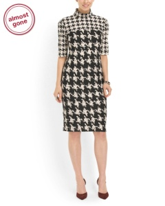 LOVE this figure flattering houndstooth dress, TJ Maxx, $39.99